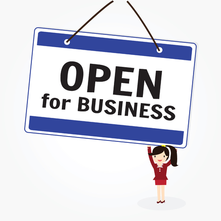 inform: The words Open for Business store or business to invite customers inside for a grand opening or for regular business hours