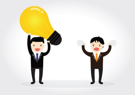 Businessman is plagiarizing idea to work and someone was angry Illustration