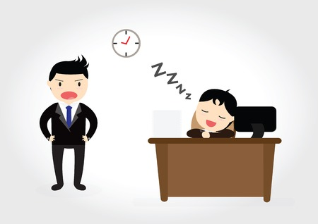 Exhausted businessman falling sleep at his office desk while angry boss is standing Vector