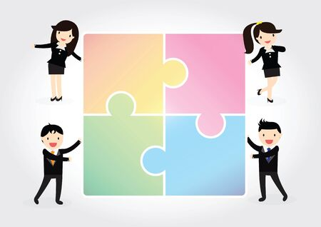 group people: Business group people assembling jigsaw puzzle. Illustration