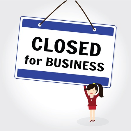 The words close for Business store or business to inform customers