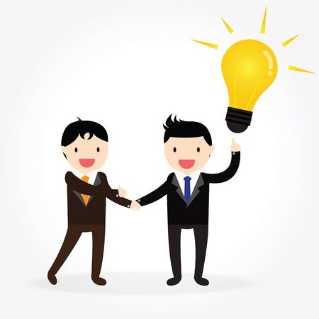 Businessman shaking hands and presenting idea Vector Illustration
