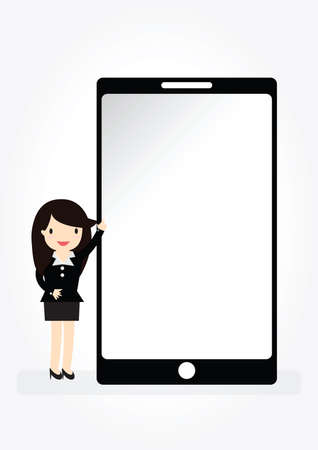 woman cellphone: Business woman character pointing on empty screen with space smartphone in flat style suited for presentation of new application or advertising design