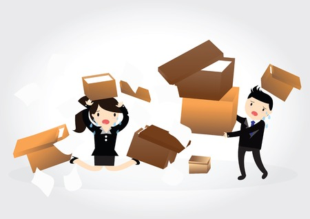 unfortunate: Accident with some businessman and business woman carrying a pile of cardboard boxes