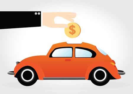 business hand: Business hand saving money in car shaped piggy bank