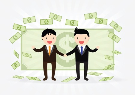 Business man successful partnership shaking hands  and money for teamwork Vectores