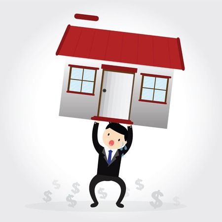 foreclosure: Businessman with debt carrying a house