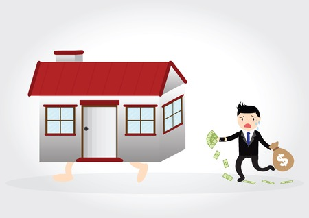 Businessman with debt and chasing a home Illustration