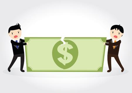 Geschäftsmann kämpfen um für Dollar Geld Standard-Bild - 36409792