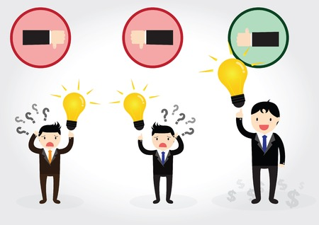 Businessman can get good idea to do something success and  thinking about money, like idea or unlike idea Vector