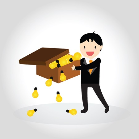 Businessman can get good idea and put idea in a box Vectores