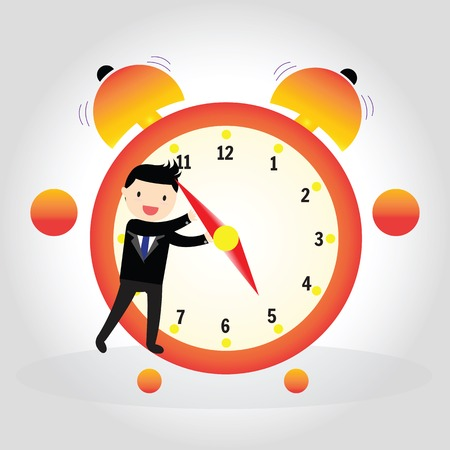 pm: Businessman pulling a clock hand forward at 5 pm o clock Illustration