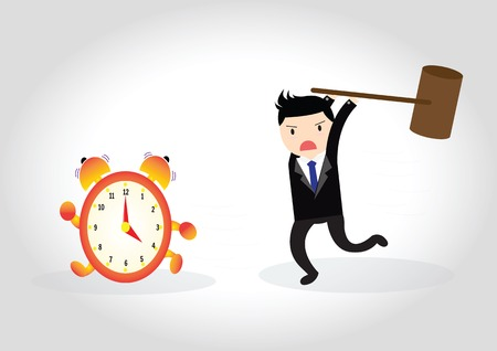 Businessman hand holding sledgehammer hitting alarm clock