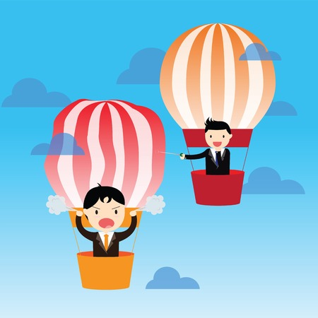 enemy: Businessman in balloons with rival enemy popping with needle Illustration