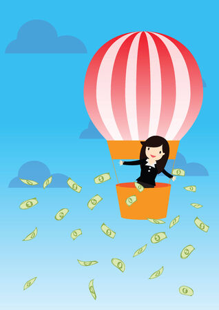 woman holding money: Business woman holding money in balloon on sky