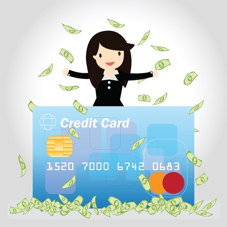 woman credit card: Happy business woman with credit card and money