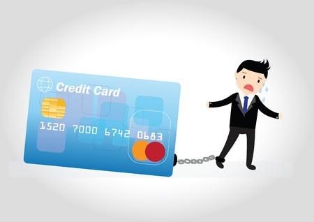 債務の請求書とクレジット カードを持ったビジネスマン 写真素材 - 36525550