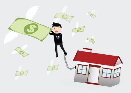 flying money: Empresario colg� el dinero del vuelo y las piernas atadas por la cadena con el hogar Vectores