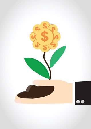commercial tree care: Money flower on hand of businessman Illustration