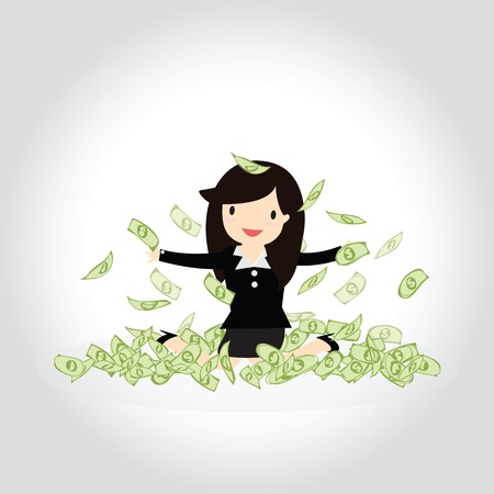 happy business woman: Happy business woman enjoying throwing money up