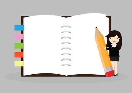 プレゼンテーションで使用するため、空のノートブックを保持している女性実業家