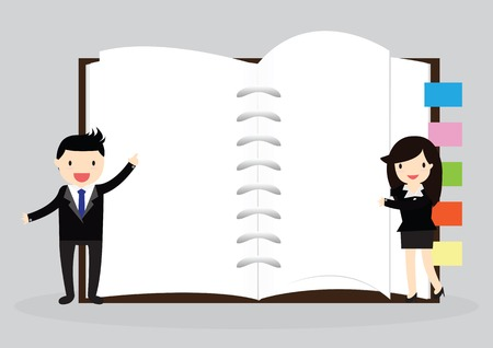 Businessman and business woman holding an empty notebook for use in presentations Vector