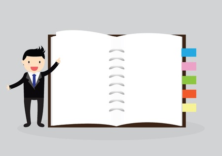 Businessman holding an empty notebook for use in presentations Vector