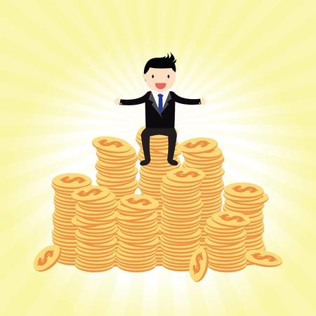 巨大なお金に誇らしげに立っているビジネスマン 写真素材 - 36871802