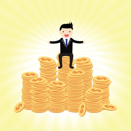 Businessman proudly standing on the huge money Vectores