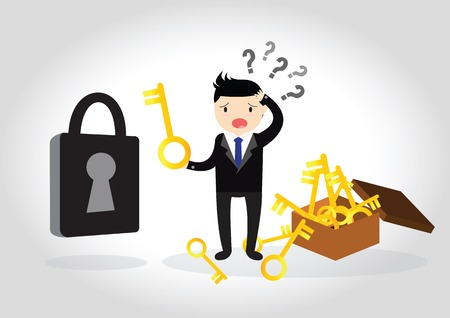 escape key: Business are confused to find the key to open the lock.