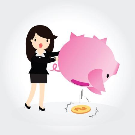 Business woman shaking an empty piggy bank