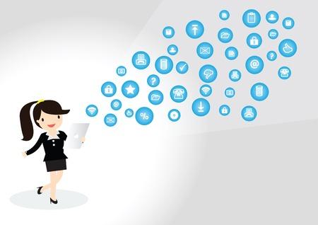 vrouw met tablet: Business vrouw die tablet is het gebruik van sociale media Stock Illustratie