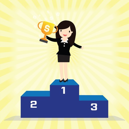 trophy winner: Business woman winner standing in first place on a podium holding up trophy Illustration