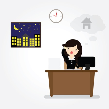 Business woman hard work on office  in office with speech bubble gonna go home Çizim