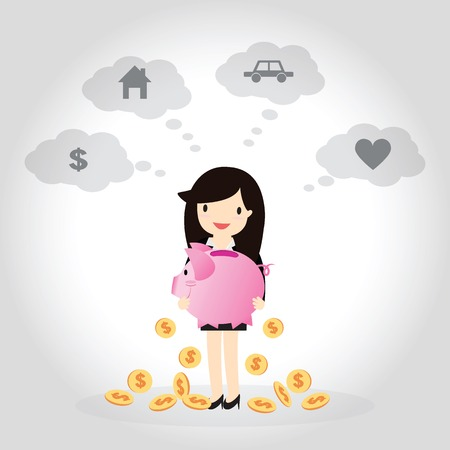 Business woman planning to save money for good future, money, home, car, and love