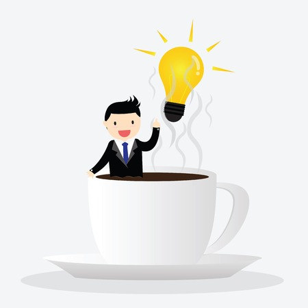 somnolent: Businessman relaxing in coffee cup, get idea Illustration