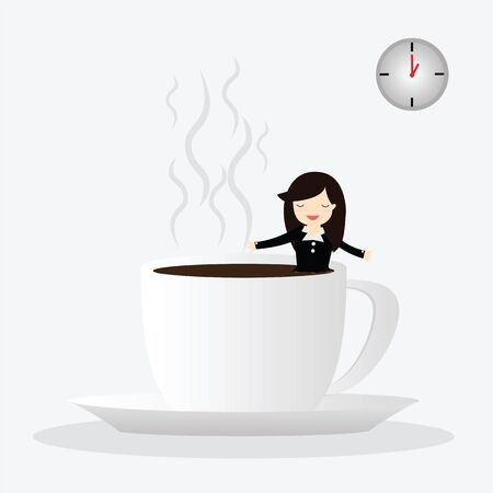 woman drinking coffee: Business woman drinking coffee, relaxing with coffee cup in bright office