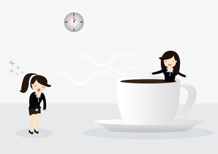 somnolent: Business woman drinking coffee, relaxing with coffee cup in bright office