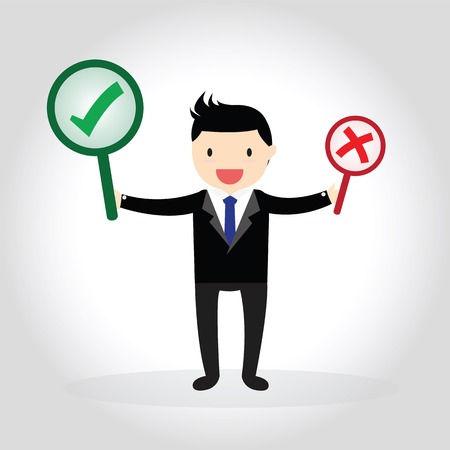 Businessman with correct and wrong symbols. Vectores