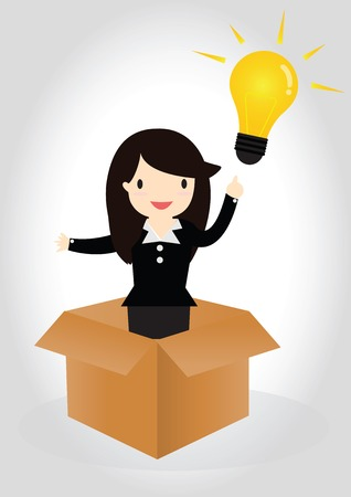 business woman standing: Business woman standing in box with idea lightbulb