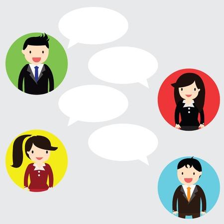 ビジネスマンやビジネスウーマンが一緒に話しています。コピー スペースであなたのメッセージを書くことができます。