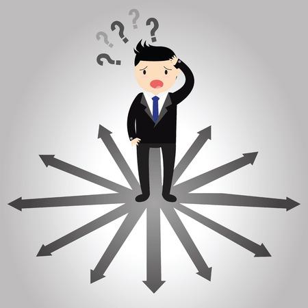 where to go: Businessman with the alternative choice. Where to go.