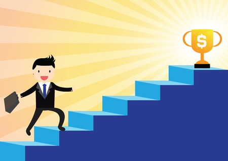 stairs: Success businessman with briefcase walking up to stairs