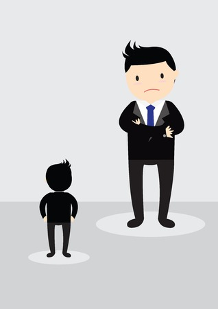 subordinate: Big boss is looking down  a small little businessman. Illustration