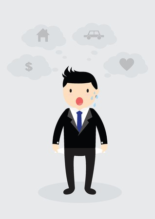 empty pocket: Businessman standing and showing his empty pocket. No budget. Business concept. No money. Think home, car, love and money