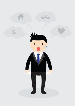 empty pocket: Empresario de pie y mostrando su bolsillo vac�o. No hay presupuesto. Concepto de negocio. No hay dinero. Piense en el hogar, coche, el amor y el dinero