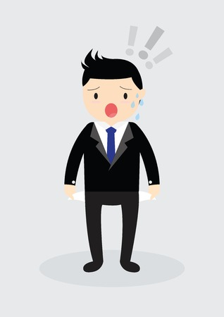 empty pocket: Businessman standing and showing his empty pocket. No budget. Business concept. No money Illustration