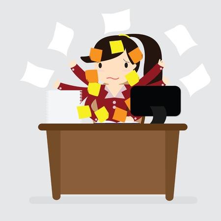 概念のメモリと仕事上の不満を表すポストの多くを持つ女性実業家