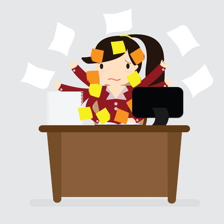 Business woman with many of post representing concept memory and frustration on work Vectores