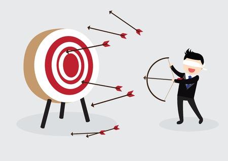 Zavázanýma očima podnikatel se snaží zasáhnout cíl